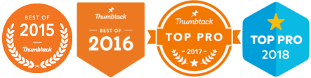 Thumbtack Awards for top performing technical services like Electrical work, Best of 2015 and 2016, Top Pro 2017 and 2018