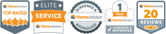 Home Advisor Awards for top performing technical services like Electrical work - Top Rated, Elite Service, Screened & Approved Home Advisor, 1 Year Home Advisor Screened & Approved, Home Advisor 20 Reviews award